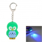 Cute Cartoon Owl Style Keychain w/ LED Illuminating Light & Sound Effects - Blue + Green