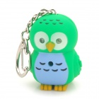 Cute Owl estilo llavero w / LED Iluminador Light & Sound Effects - Azul + Verde