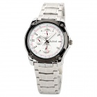 Daybird 3752-WB Stainless Steel Quartz Analog Men's Wrist Watch - White + Black + Silver