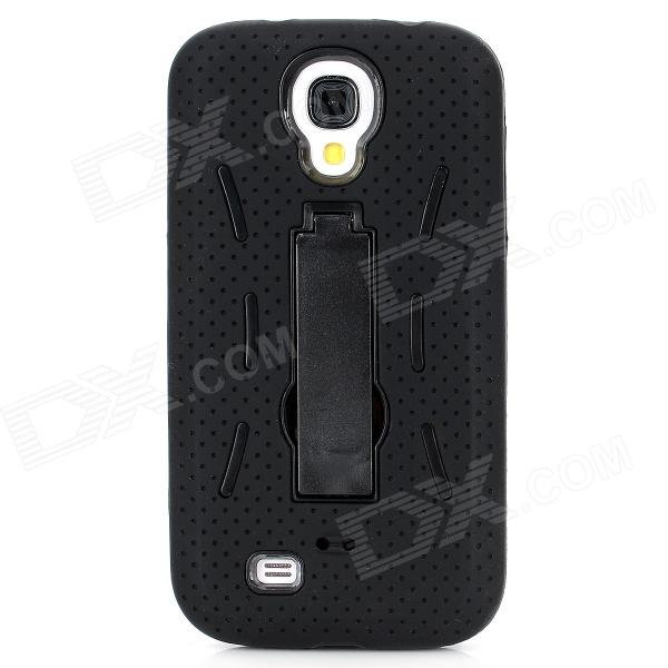 Protective ABS + Silicone Back Case w/ Stand for Samsung Galaxy S4 i9500 - Black стоимость