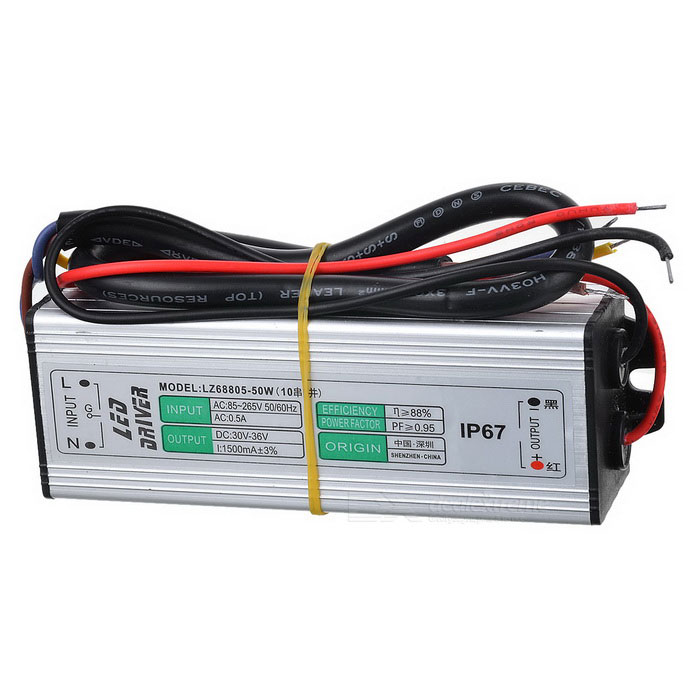 External Waterproof 50W LED Source Power Supply Driver - Grey White (AC 90~265V) ac 85v 265v to 20 38v 600ma power supply driver adapter for led light lamp