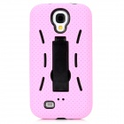 Protective ABS + Silicone Back Case w/ Stand for Samsung Galaxy S4 i9500 - Pink + Black