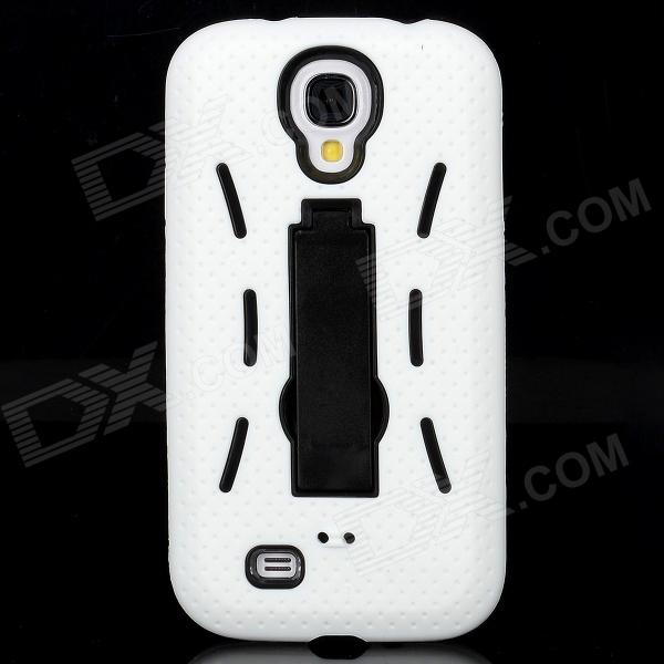 Protective ABS + Silicone Back Case w/ Stand for Samsung Galaxy S4 i9500 - White + Black стоимость