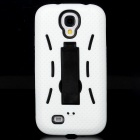 Protective ABS + Silicone Back Case w/ Stand for Samsung Galaxy S4 i9500 - White + Black