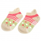 Cute Smiling Face Pattern Cotton Socks for Toddler - Griege + Pink + Green + White (Pair)