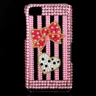 Bowknot + Love Heart Style Rhinestone Back Case for BlackBerry Z10 - Pink + Black
