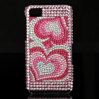 Love Heart Style Protective Rhinestone Back Case for BlackBerry Z10 - Pink + White
