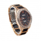 Daybird 3737 Rhinestone Elliptic Dial Quartz Analog Women's Wrist Watch - Black + Champagne Gold