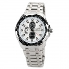 Daybird 3751-WS Stainless Steel Quartz Analog Wrist Watch for Men - White + Black + Silver
