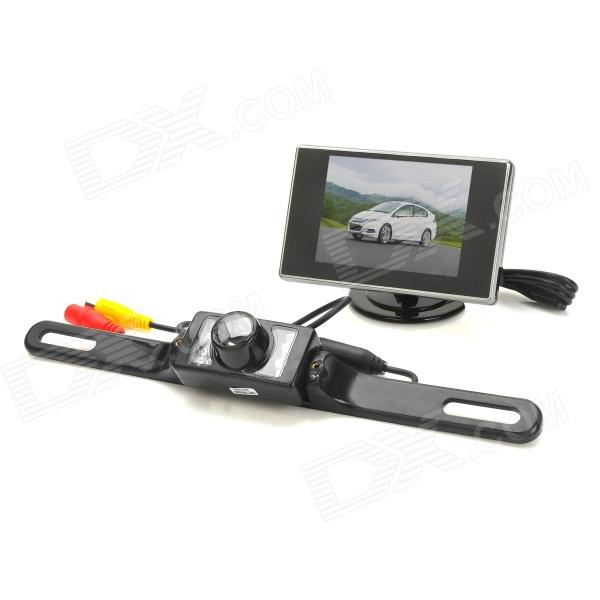 2.4GHz 3.5 LCD Car Stand Security Monitor + Rear-View Camera w/ 7-IR LED Kit - Black 4 3 tft lcd car rear view stand security monitor and camera kit black