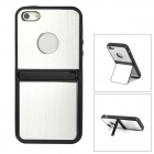 Creative Two-way Stand Plastic Back Case for Iphone 5 - Silver + Black