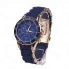 K413-BLG Men's Silicone + Stainless Steel Band Quartz Analog Wrist Watch - Blue + Champagne Gold