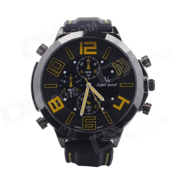 цена на Super Speed V0100-BY Round Silicone Band Faction Quartz Watch for Men - Black + Yellow