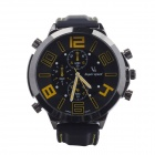 Super Speed V0100-BY Round Silicone Band Faction Quartz Watch for Men - Black + Yellow