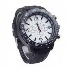 Super Speed V0100-W Men's Silicone Band Faction Quartz Wrist Watch - Black + White