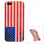Stylish American Flag Pattern Plastic Back Case w/ Holder for Iphone 5 - Blue + Red + White