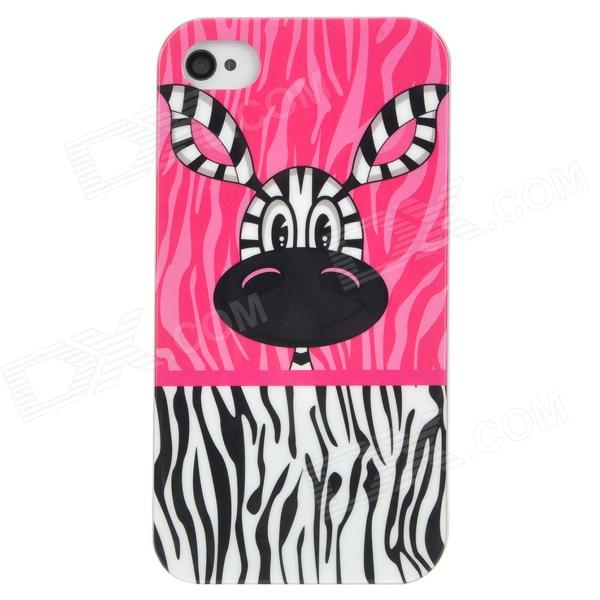 купить Cute Zebra Little Jim Pattern PC Protective Back Case for Iphone 4 / 4S - Pink + Black + White недорого