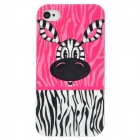 Cute Zebra Little Jim Pattern PC Protective Back Case for Iphone 4 / 4S - Pink + Black + White