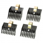 C021 Electric Tungsten Steel + Plastic Hair Clipper Cut Limit Comb Set - Black (4 PCS)