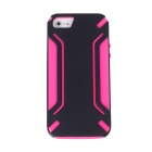 Protective PVC + TPU Case for Iphone 5 - Black + Deep Pink