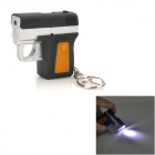 WLE3315 Gun Style LED White Light Flashlight Keychain - Black + Silver (3 x AG3)