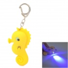 WLE3319 Sea Horse Style LED Blue Light Flashlight Keychain - Yellow (3 x AG3)