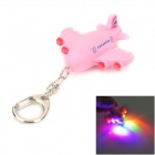 WLE6636 Cute Plane Shape 4-LED RBG Light Flashlight w/ Keychain - Pink (3 x AG3)
