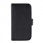Protective PU Leather Lichi Pattern Case for Samsung S4 i9500 - Black