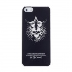 Protective Pirate Captain Skull Plastic Case w/ LED Flash Light for Iphone 5 - Black + White