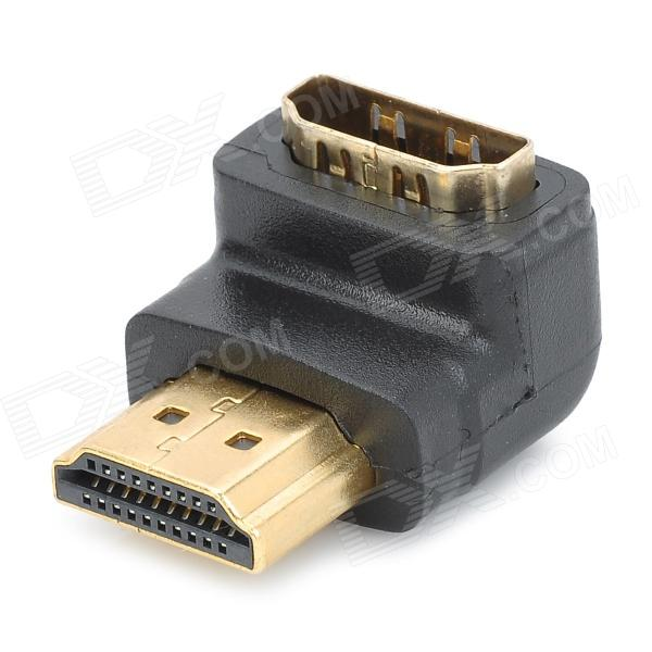 Letter L Shaped HDMI V1.4 Male to Female Angle Adapter - Black+Golden