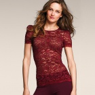 Frauen Sexy Sophisticated Fashion Lace Round Neck Top Shirt - Burgund (Free Size)
