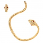 Cool Red Eyes Snake Style Copper Aluminum Alloy + Rhinestone Earrings - Golden (2 PCS)