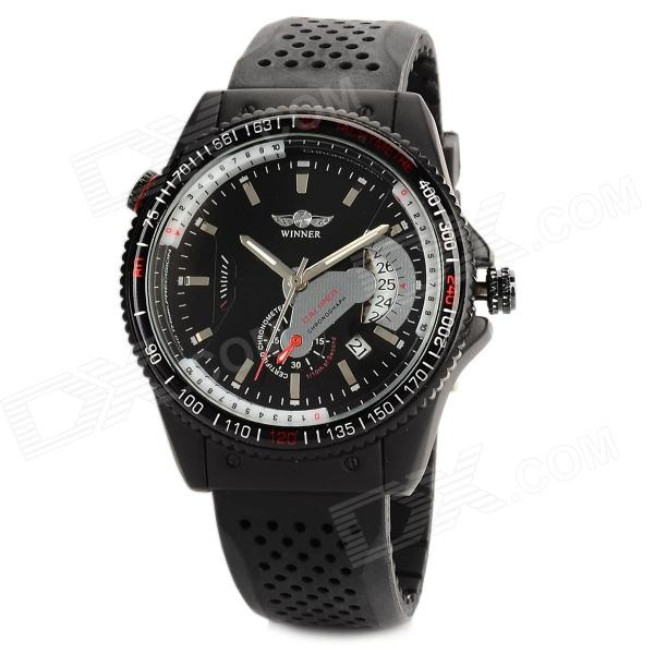 Stainless Steel Rubber Band Mechanical Self-winding Analog Men's Wrist Watch w/ Calendar - Black