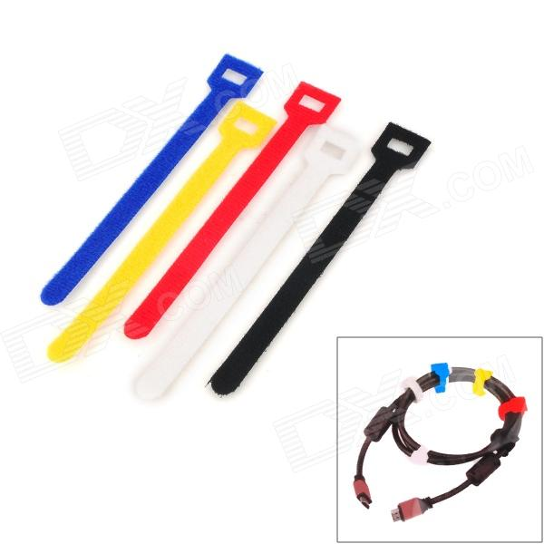 Fabric Velcro Cable Ties - Red + Black + White + Blue + Yellow (5 PCS) nordic popular living room chair retail simple and stylish plastic stool wholesale white yellow red black color free shipping