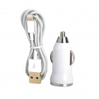 Car Cigarette Powered Charger + USB to 8-Pin Lightning Cable for iPhone 5 - White + Golden