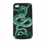 Electroplating Dragon Pattern Protective PC + TPU Back Case for iPhone 4S - Green + Black