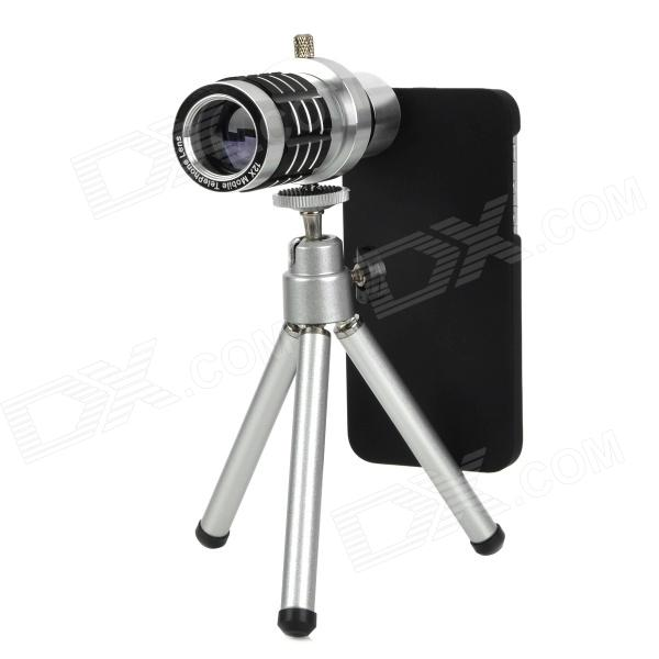 Universal 3-in-1 Fisheye + Wide Angle + Macro Lens Set for Iphone 5 - Silvery White + Black universal 3 in 1 clip on wide angle fisheye macro lens set for iphone htc samsung silver