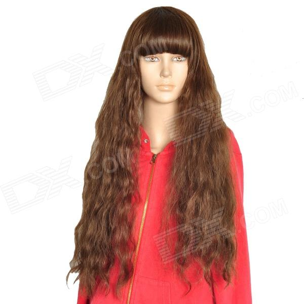 Cosplay Lady's Neat Bang Long Curly Hair Wig - Flax + Yellow Gradient 0003588 curly yellow blonde golden gold cosplay hi temp wig