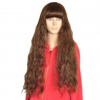 Cosplay Lady's Neat Bang Long Curly Hair Wig - Flax + Yellow Gradient