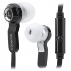 SONGQU SQ-IP1011 Stylish In-Ear Earphones w/ Microphone - Black + White (3.5mm Plug / 1.2m)