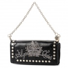 Retro PVC Embroider Long Wallet w/ Lanyard for Women - Black + Silver