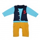 Cute Stripe Layered Look Baby Boy Cotton Rompers - Dark Blue + Yellow + Blue + White + Red (Size 90)