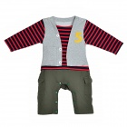 Cute Stripe Layered Look Baby Boy Rompers - Gray + Olive + Red + Dark Blue + Yellow (Size 80)