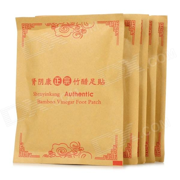 Shenyinkang HQS-G101262 Authentic Bamboo Vinegar Foot Patch (5 PCS) - White kongdy brand 10 bags 20 pieces adhesive sheet bamboo vinegar foot patch removing toxins foot plaster foot cleansing pads