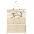 Cloth Art Style Dekorative Cotton 5-Compartment Hanging Aufbewahrungstasche - Beige + Schwarz