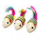 Funny Sisal Hemp Mouse Pet Cat Toy - White + Blue + Yellow (3 PCS)