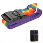 Rainbow Cross Nylon Luggage Strap w/ Combination Lock & ID Tag - Rainbow