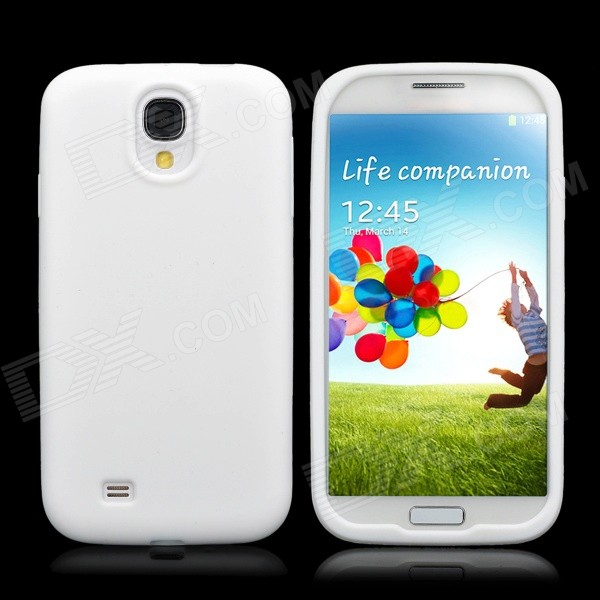 Protective Soft Silicone Back Case for Samsung i9500 - White protective silicone case for nds lite translucent white