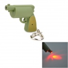 WLE2237 Gun Style LED Red Light Flashlight Keychain - Army Green (3 x AG3)