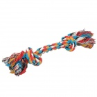 GT-01 Pet Cotton Braided Bone Rope Chew Knot Toy for Dog - White + Black + Blue + Yellow + Red